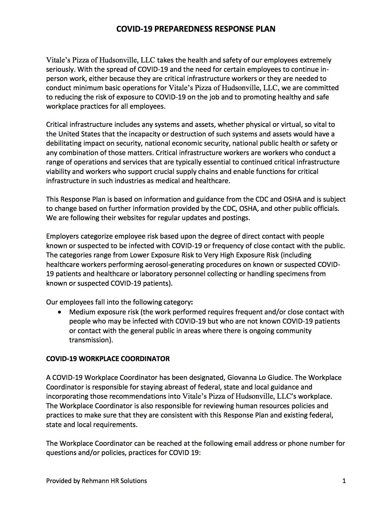 Summary - COVID-19 Preparedness Response Plan